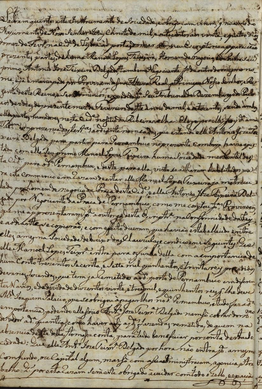 """Cota: 11º Cartório notarial de Lisboa – Ofício B – Cx. 12, Liv. 86, 57v. """"Imagem cedida pelo ANTT."""""""